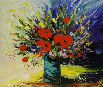 Bouquet on Blue Backg... by  Louis  Magre - Masterpiece Online