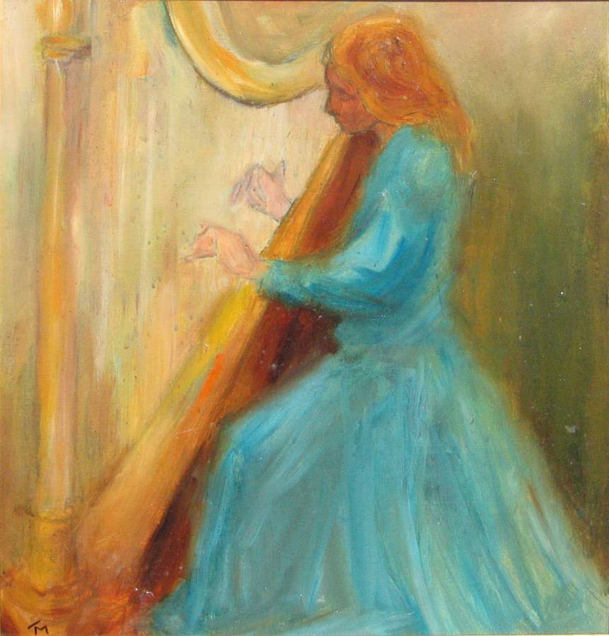 Woman with Harp by  Tom Maley - Masterpiece Online