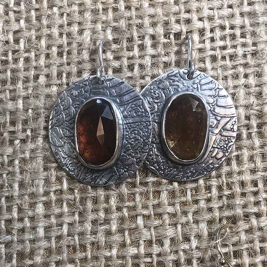 Round Sterling and Grossular Garnet Rose Cut Cabochon Earrings