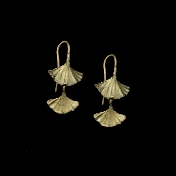 Ginkgo Double Drop Wire Earrings