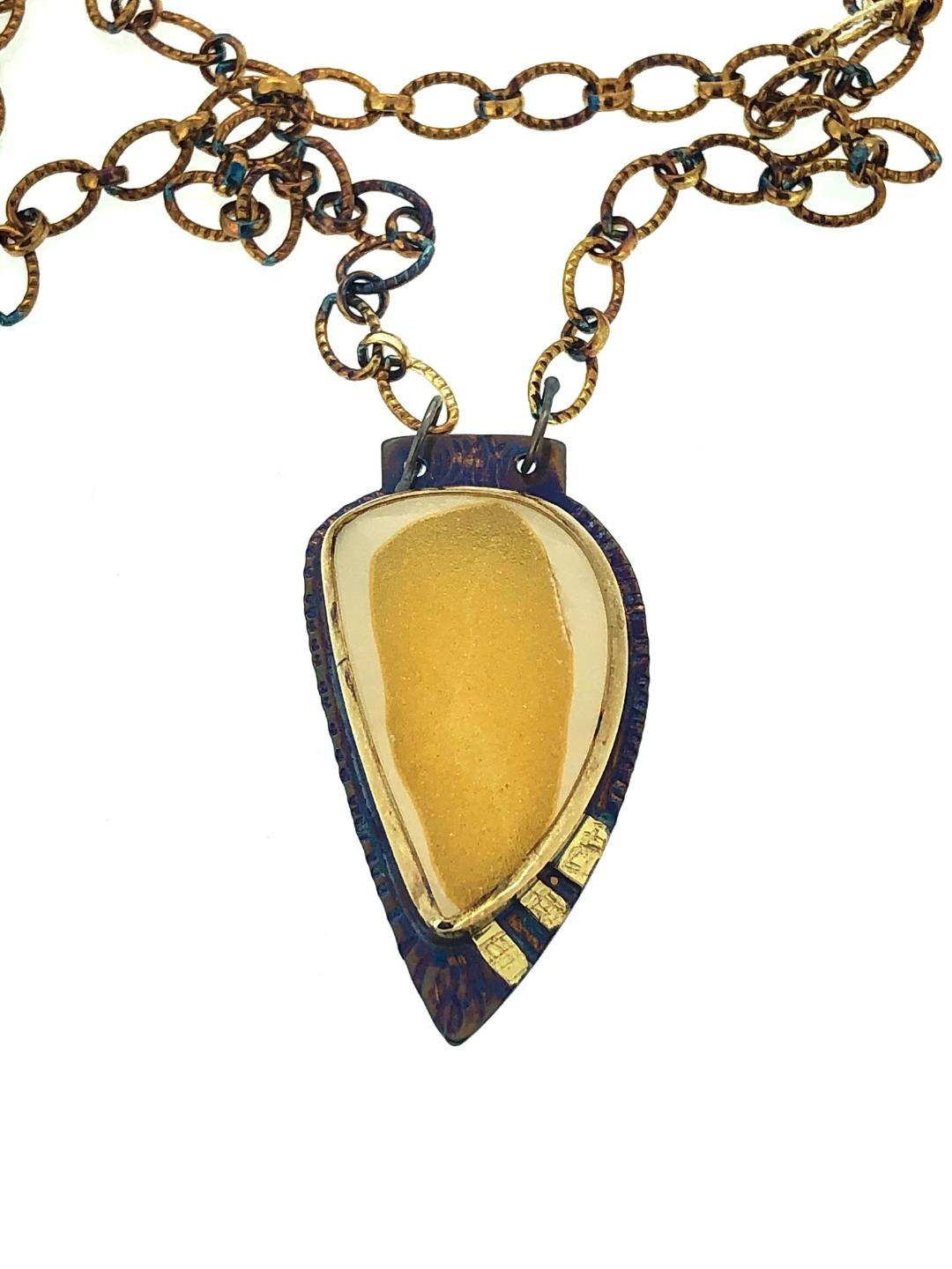 Yellow Necklace in 22k Gold, Natural Druzy from W. Java, Indonesia 23
