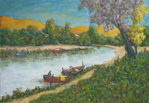 Delta River & Boat by  Andres  Morillo - Masterpiece Online