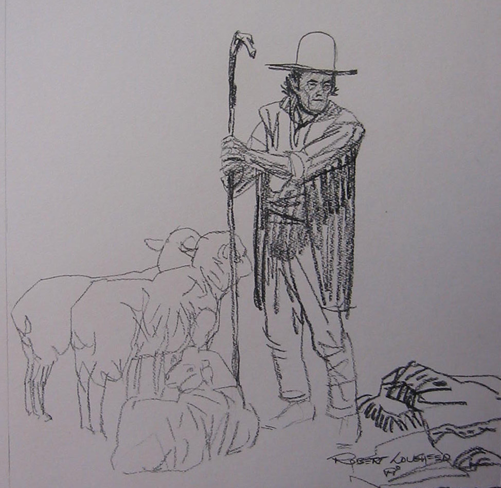INDIAN COWBOY DRAWING by  Robert Lougheed - Masterpiece Online
