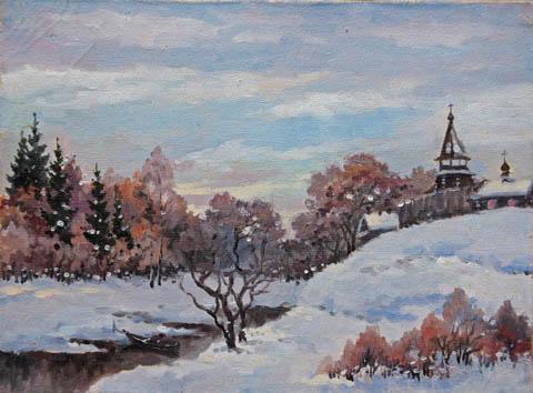 Russian Winter Landsc... by   Kuzin - Masterpiece Online