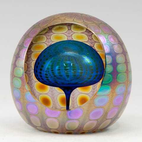 Paperweight/Round Blue by  Thomas Philabaum - Masterpiece Online