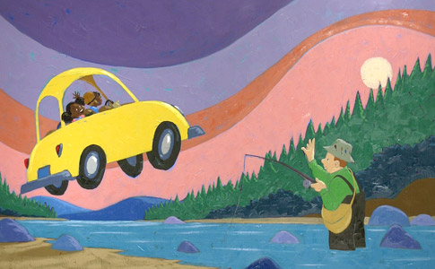 Car Over Fishing Lake by  Joe Cepeda - Masterpiece Online