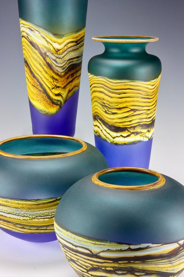 Closed Bowl in Sage Cobalt