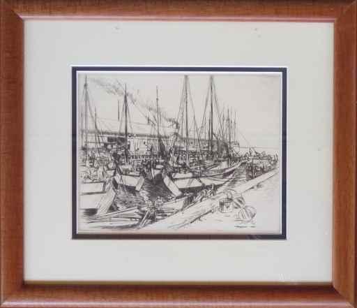 Fishing Sampans at Ke... by  Huc-Mazelet Luquiens (1881-1961) - Masterpiece Online