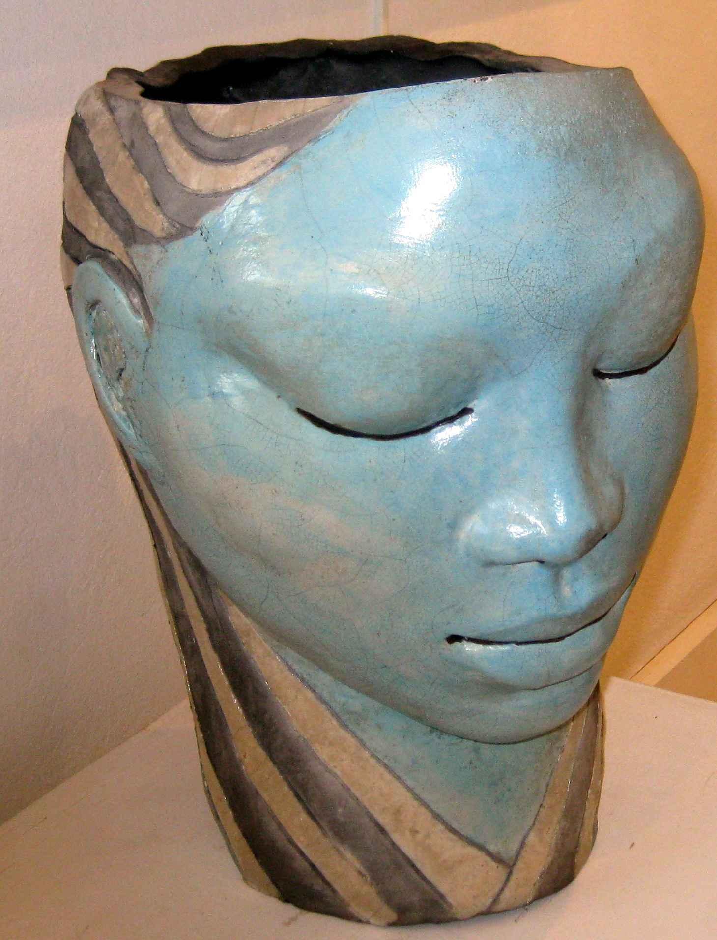 Open Head Raku Aqua by Ms Nakazzi Hutchinson - Masterpiece Online