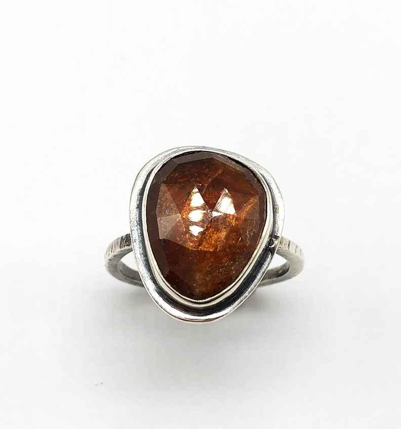 Grossular Garnet Faceted Cut Ring Size 9