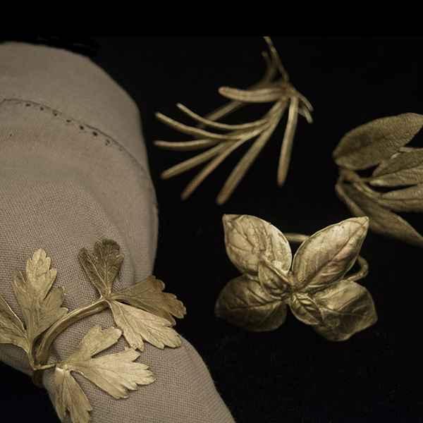 Italian Herb Napkin Rings, Antique Bronze