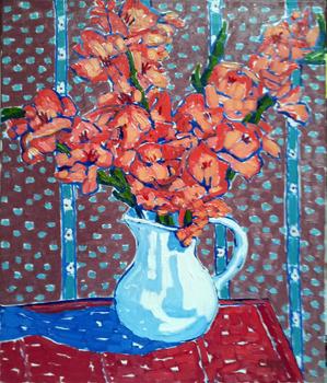 White Vase with Gladi... by  Char  Michelson  - Masterpiece Online