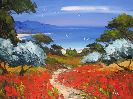 Poppies to the Sea by  Louis  Magre - Masterpiece Online