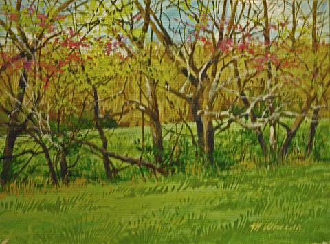 Fencerow with Redbuds... by  Michael Wheeler - Masterpiece Online