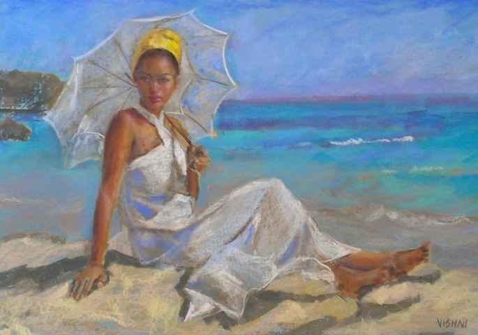 Sitting at the Beach by Mrs. Vishni Gopwani - Masterpiece Online