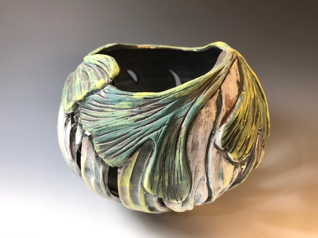 Green Gingko Candle Bowl