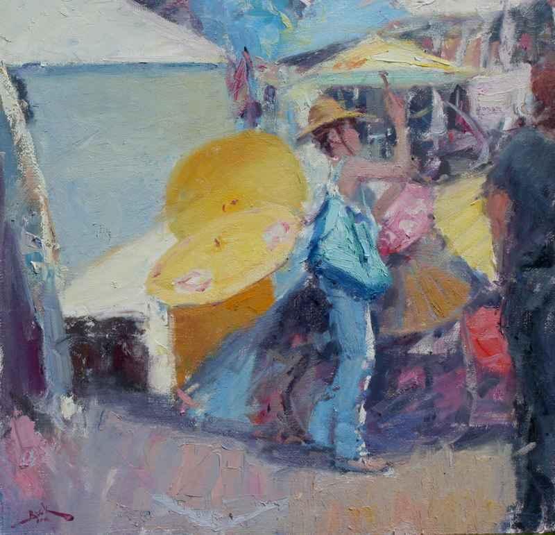 Picking Umbrellas by  Dan Beck - Masterpiece Online
