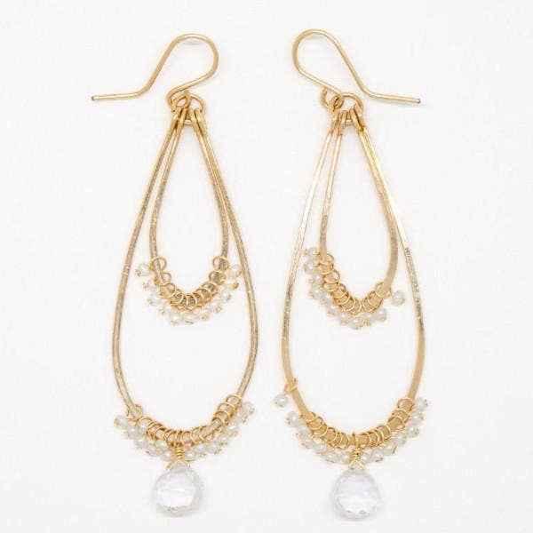 Baby White Pearl and Clear Quartz Drop Double Teardrop Earrings
