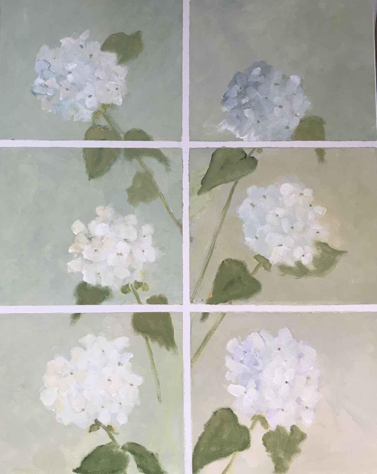 Six Hydrangeas  by  Sandra Aldrich