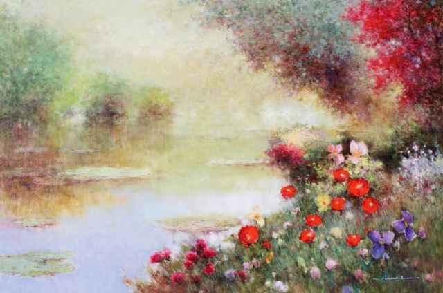 Near the Waterlilies by   Jian-yi  Liu - Masterpiece Online