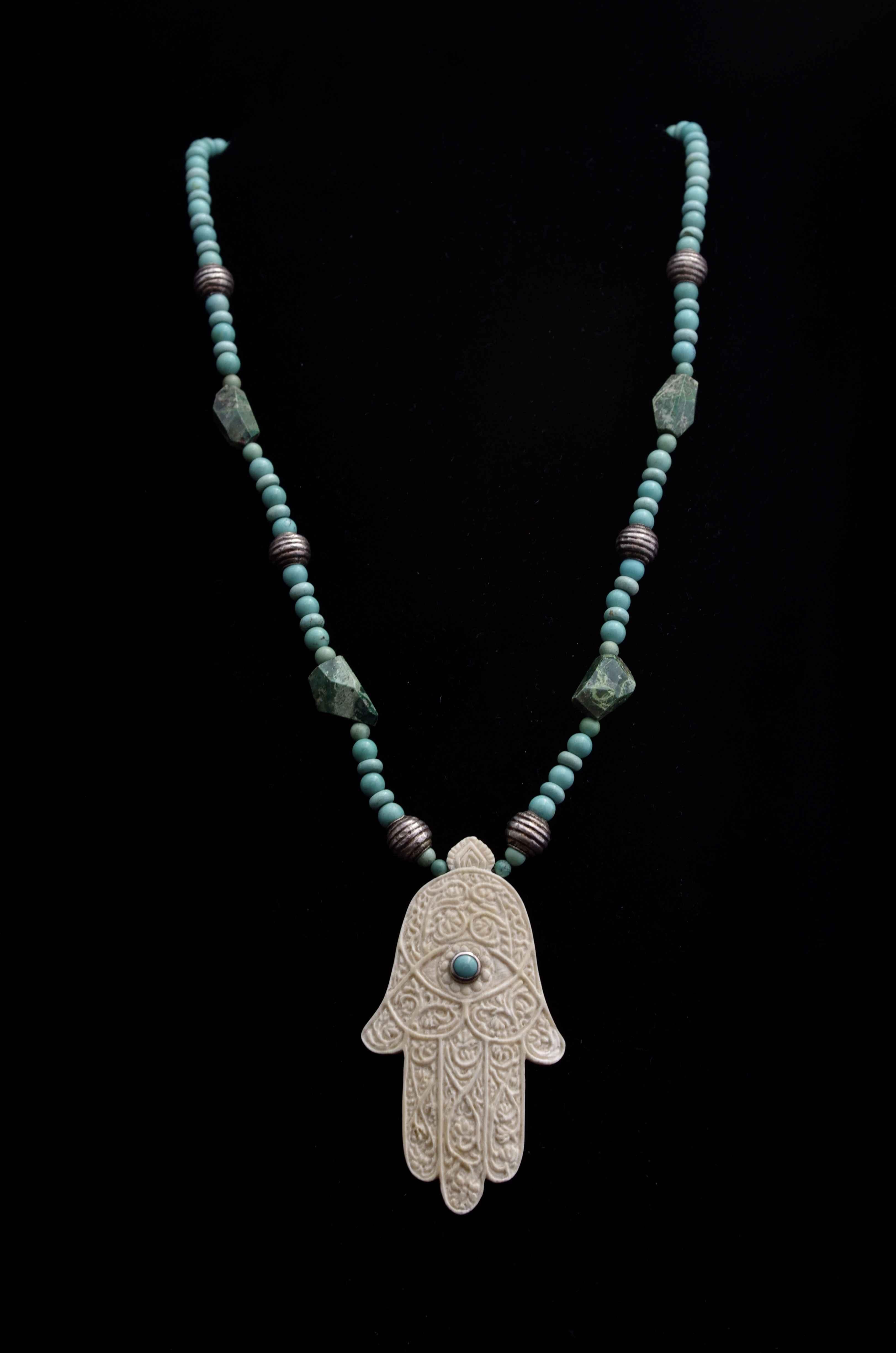 Hamsa Turquoise Neckl... by  Susan Tereba - Masterpiece Online