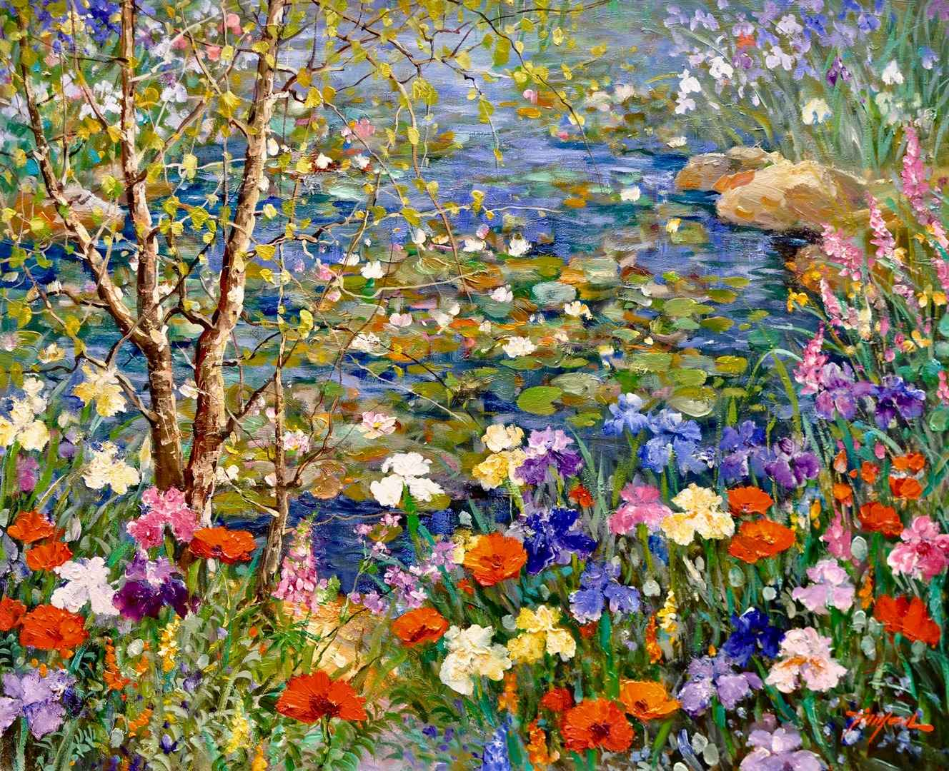 By the Waterlilies Po... by  Tinyan Chan - Masterpiece Online