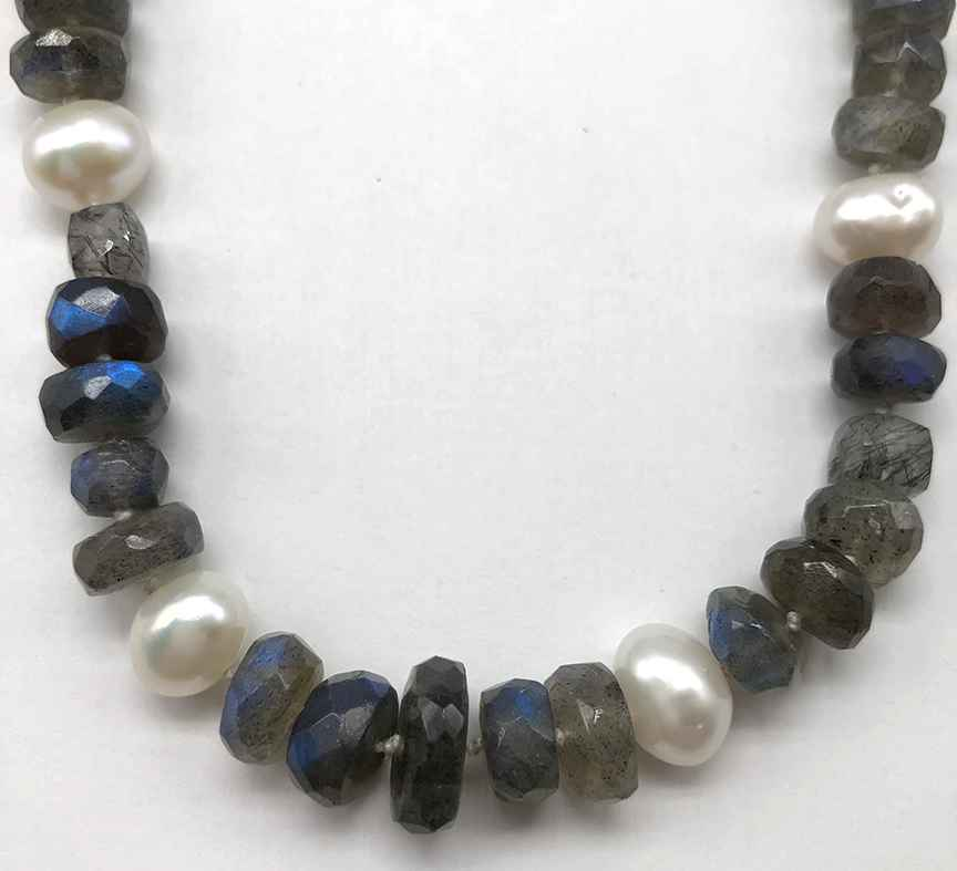 Labradorite, Pearl and Sterling Necklace