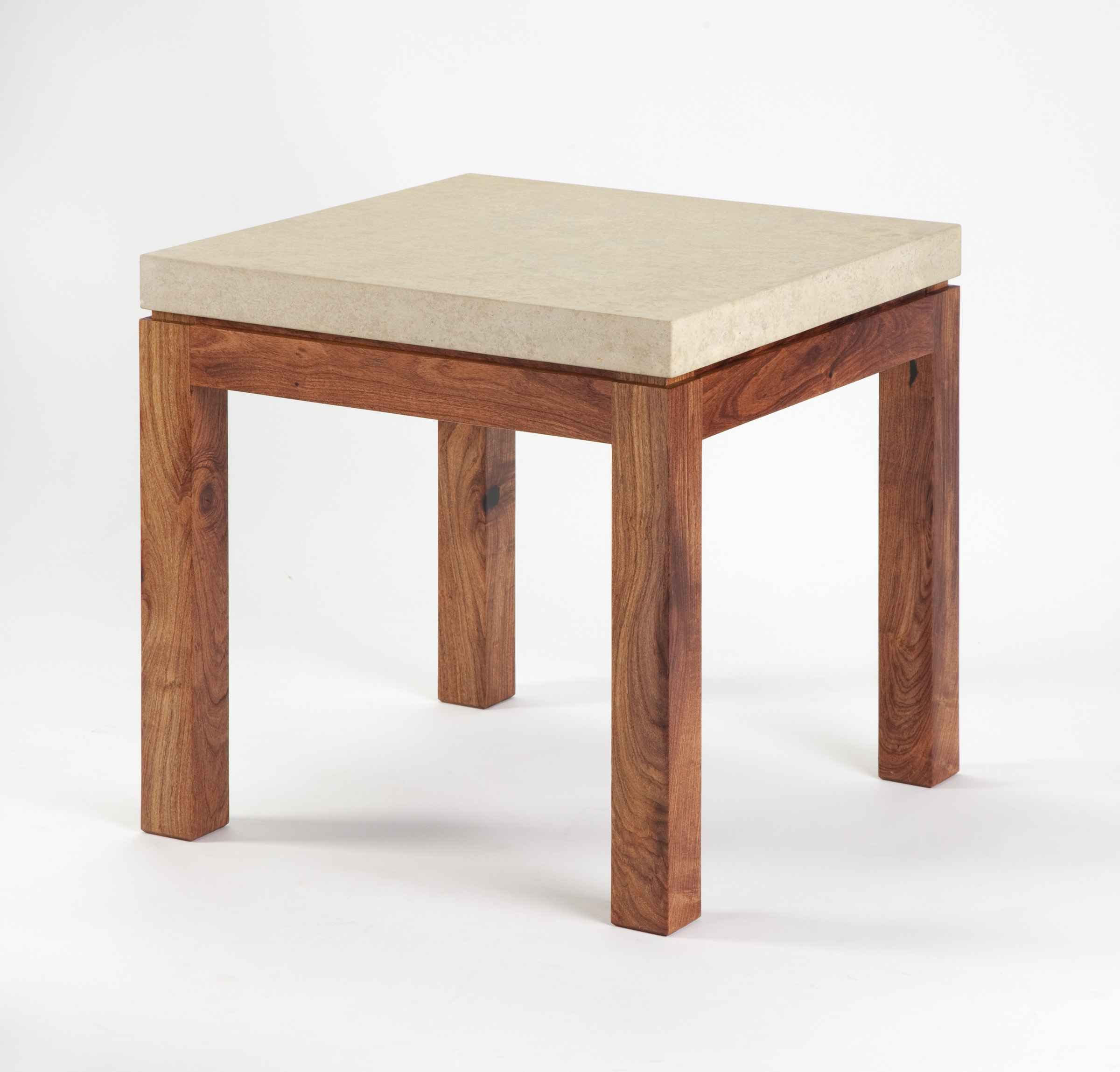 End Table ~ Mesquite With Limestone Top By Rex White