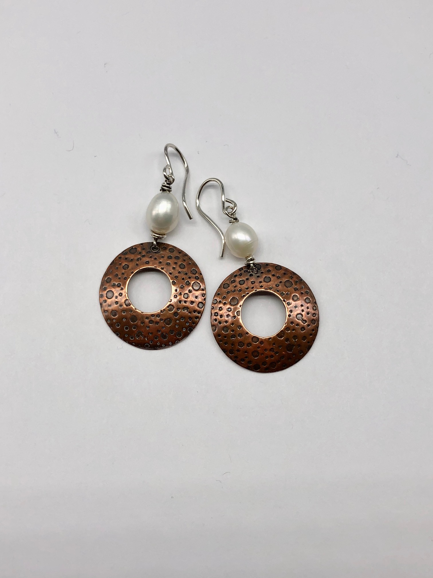 Copper and Fresh Water Pearl Earrings