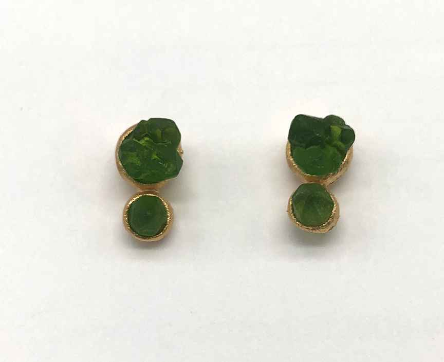 Crystal Small Double Round Drop Post Earring 1/2