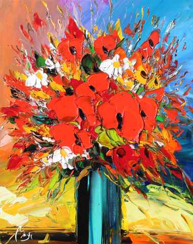 Poppies, Turquoise Va... by  Louis  Magre - Masterpiece Online