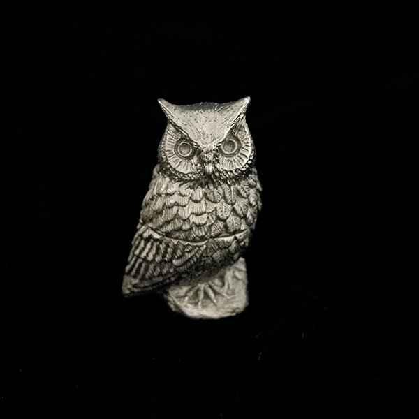 Screech Owl Box, Antique Pewter