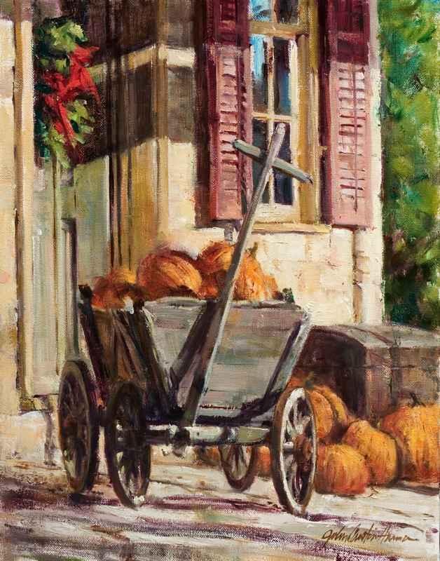 Pumpkin Cart - Giclee... by  John Austin Hanna - Masterpiece Online