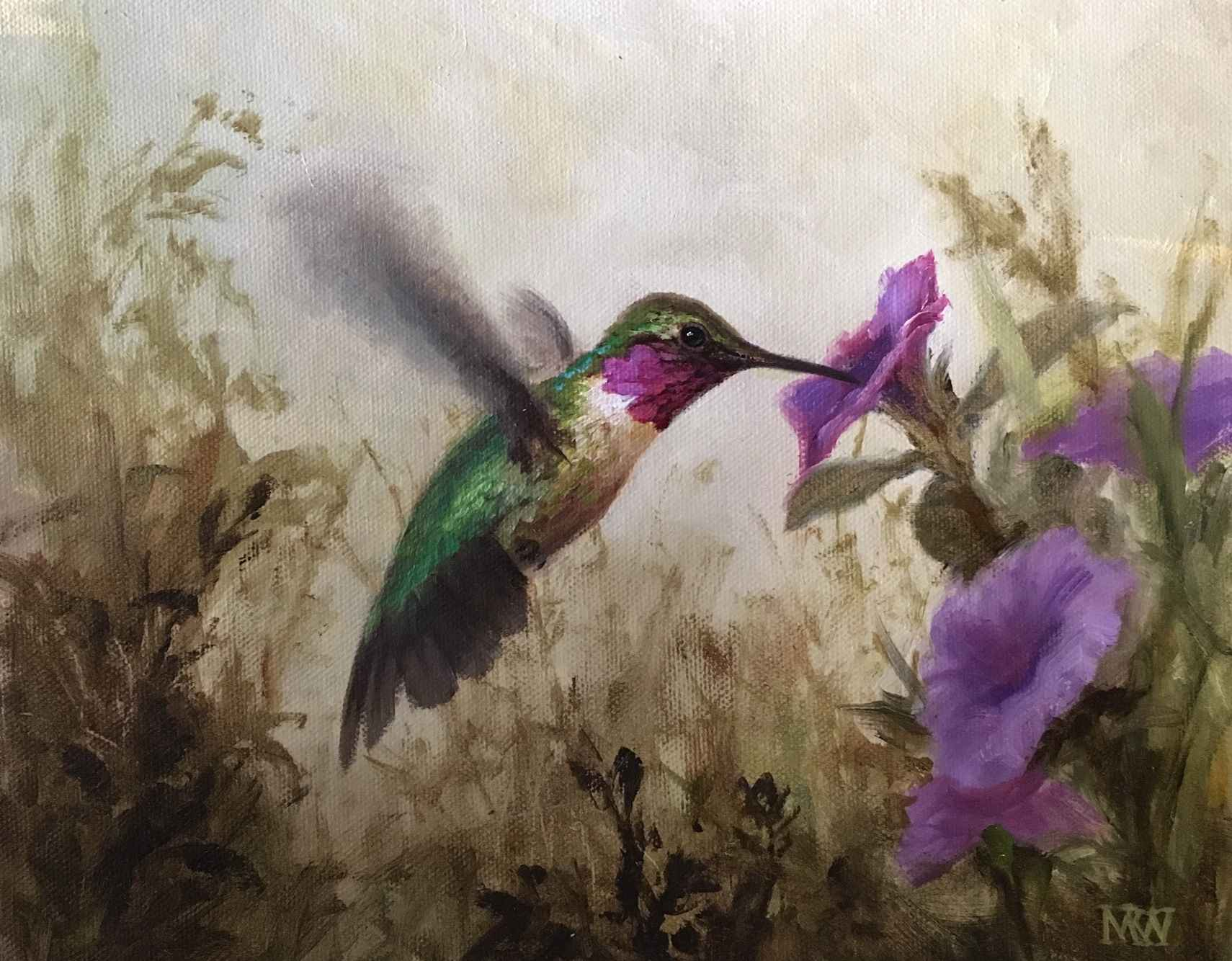Hummingbirds with Mor...  by  Mary Kay  West