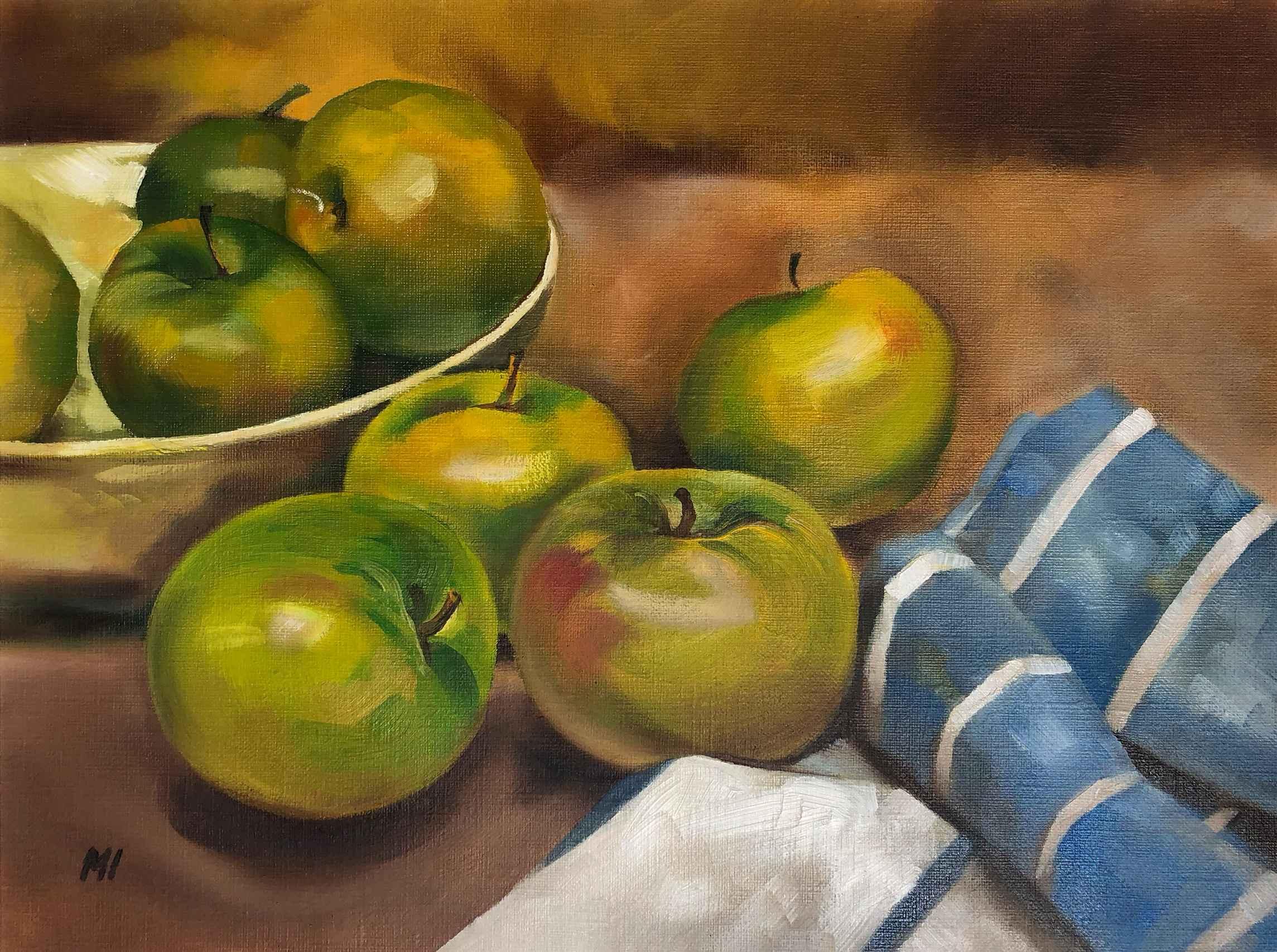 Apples & Linen Towel by  Marina Ivanova - Masterpiece Online