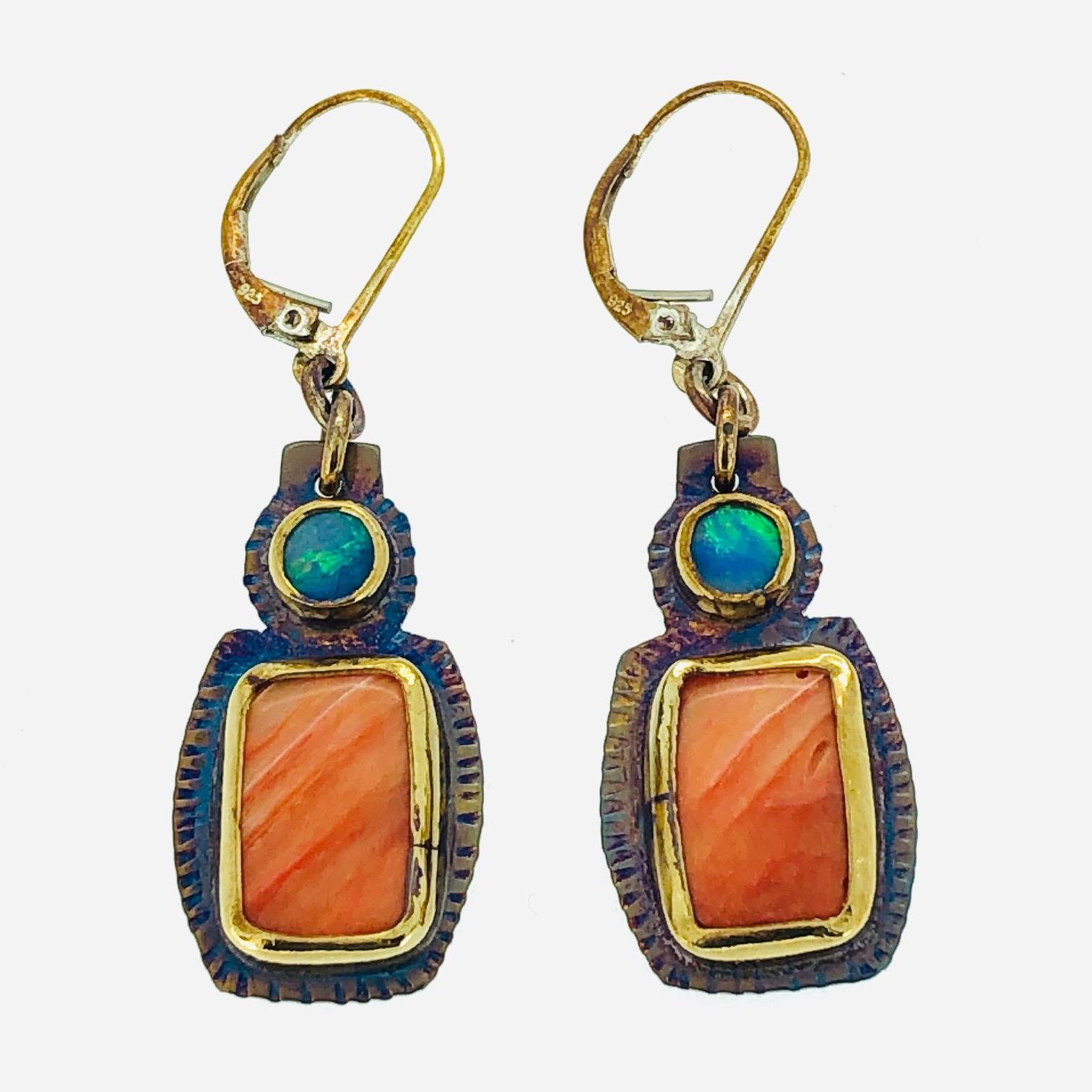 Sterling Silver, Opal, Spiney Oyster Two Stone Earrings