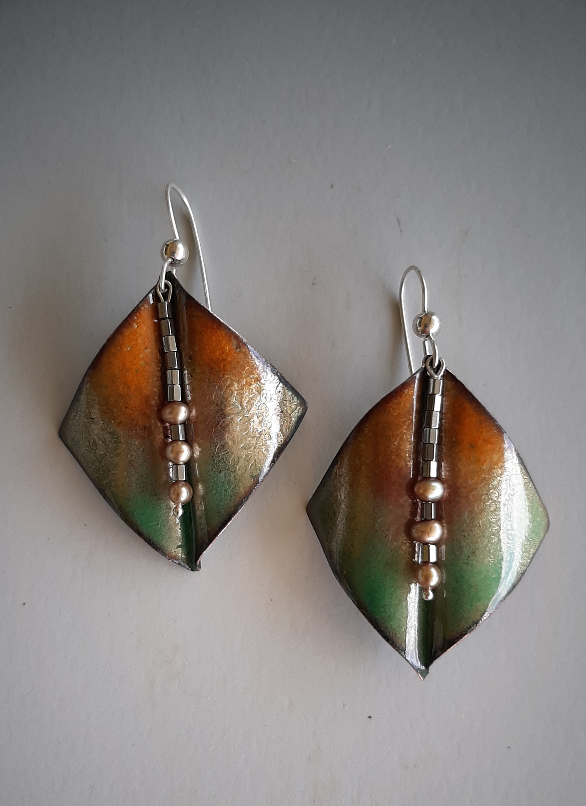 Orange and Green Wings with Center Dangle Earrings