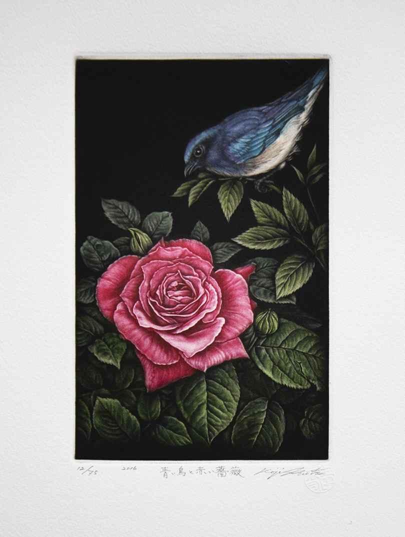 Blue bird and Red Flo... by  Koji Ikuta - Masterpiece Online