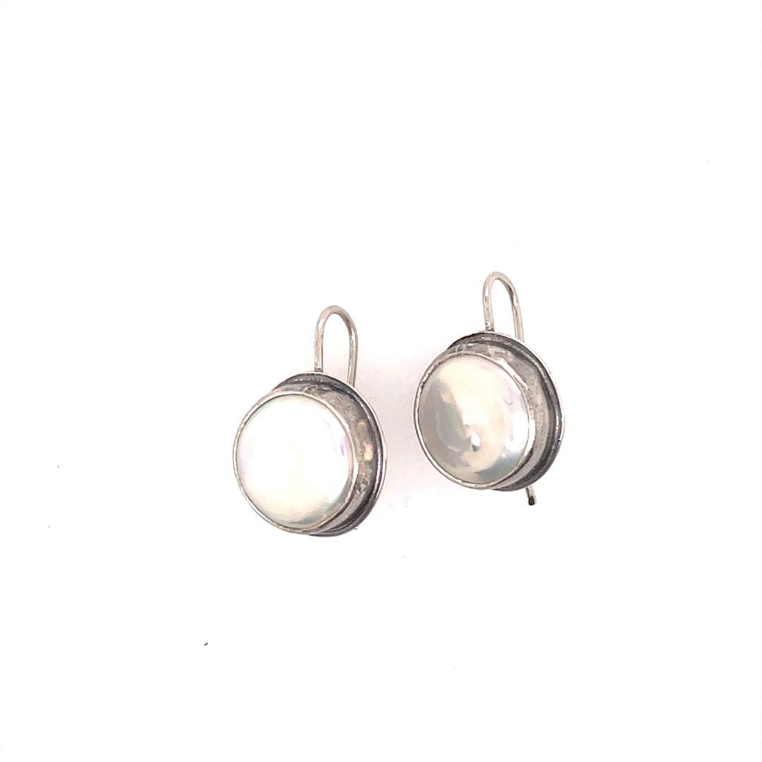 Coin White Sterling Silver Dangle Earring