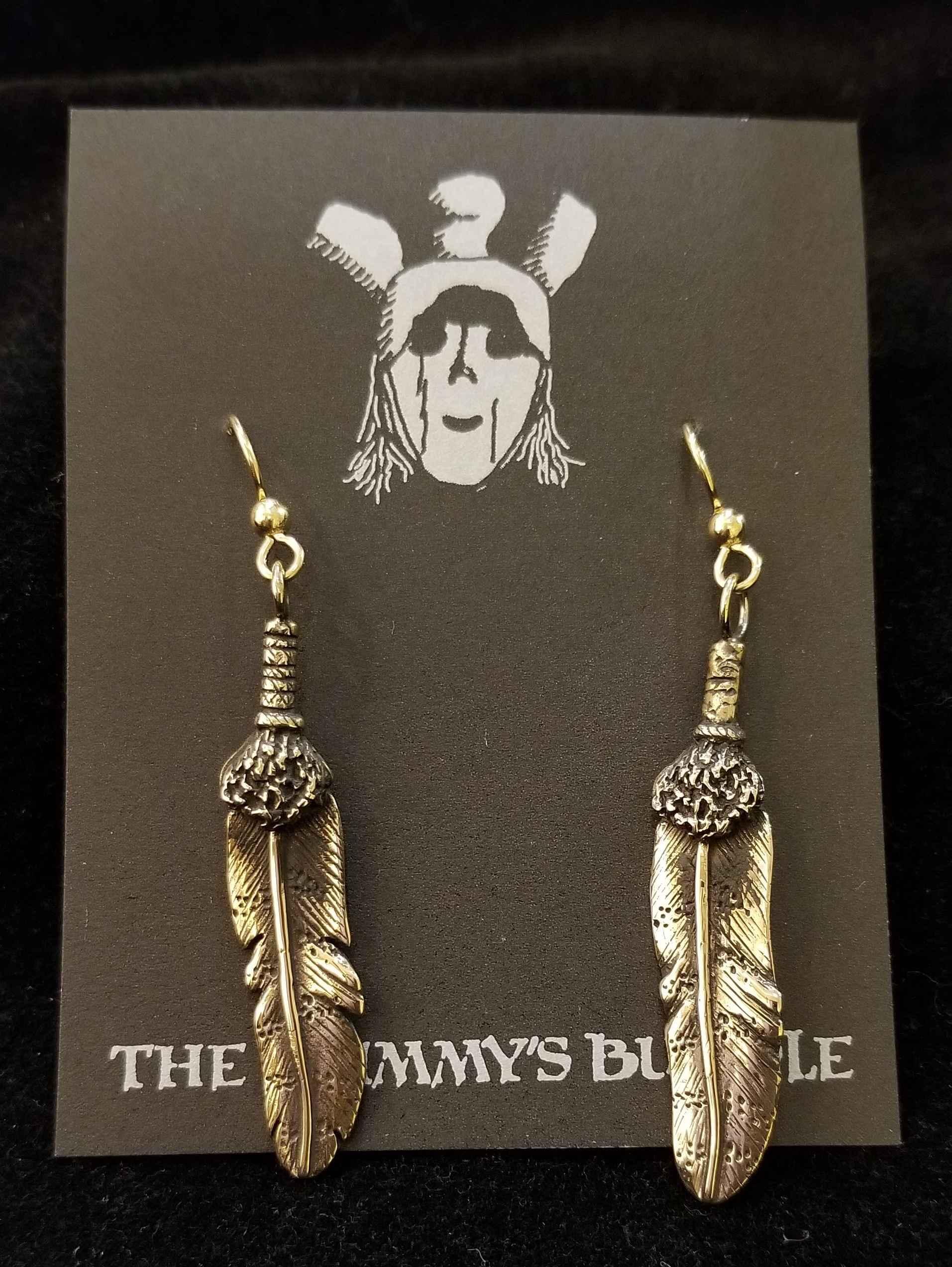 Brass Feather Earrings by  Mummy's Bundle - Masterpiece Online