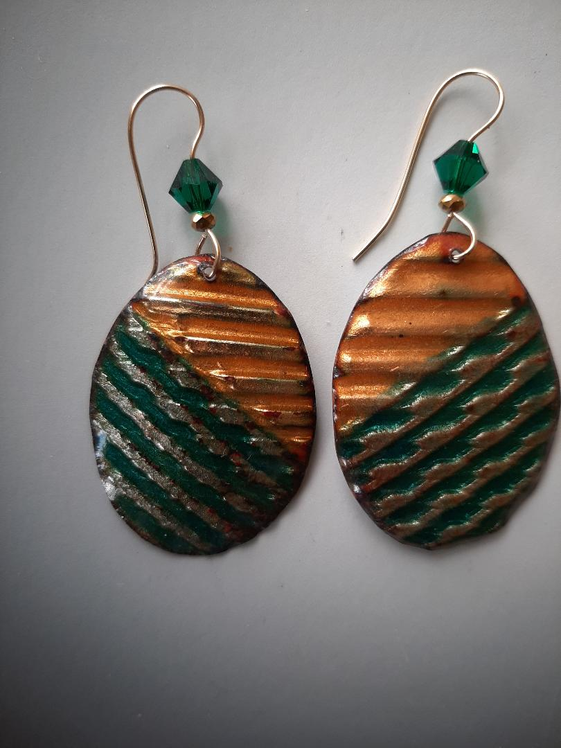 Corrugated Green-Gold Oval Earrings with Crystal and Gold-filled Hooks.