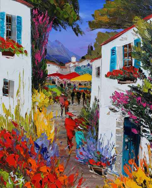 Evening in the Village by  Louis  Magre - Masterpiece Online