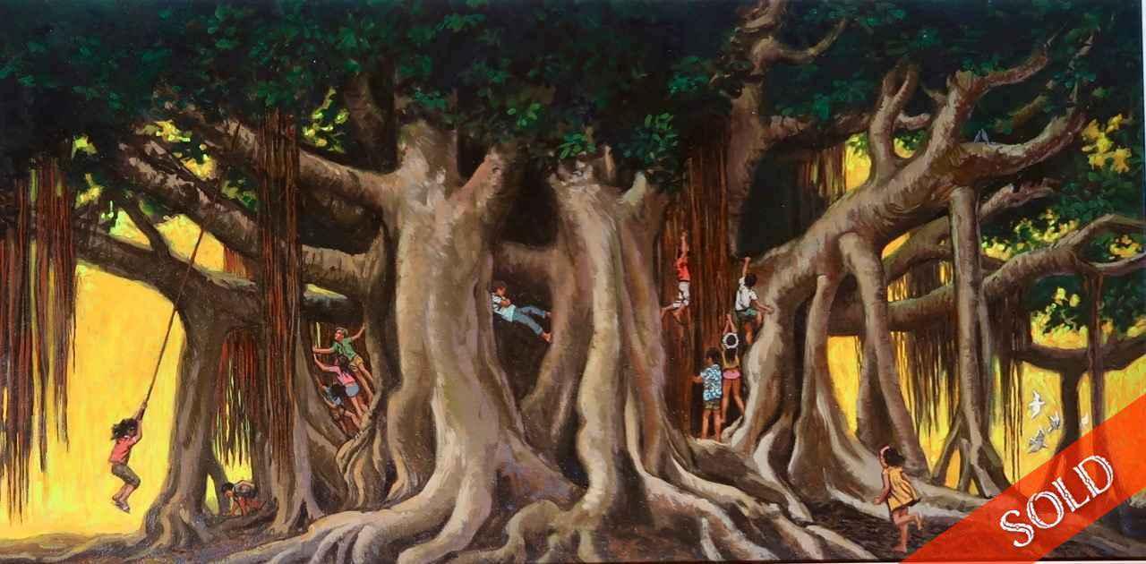 Banyan at Honolulu Zoo by  Herb Kawainui Kane (1928-2011) - Masterpiece Online