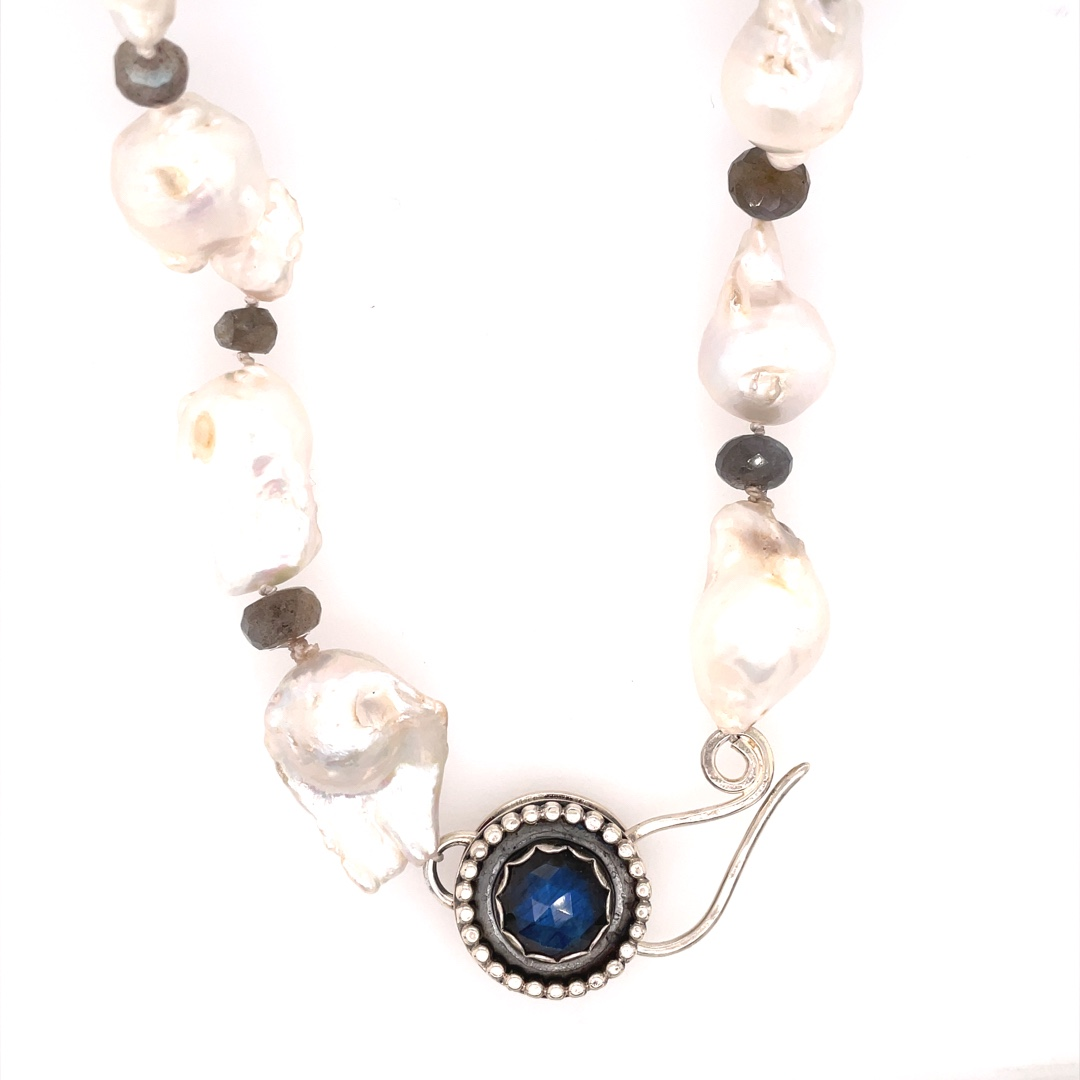 Baroque Pearl Necklace - White Pearls, Labradorite and Sterling
