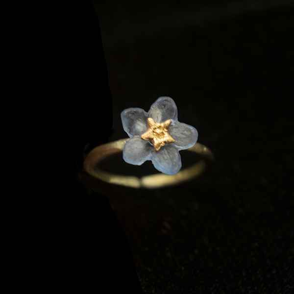 Forget Me Not Single Flower Adjustable Ring