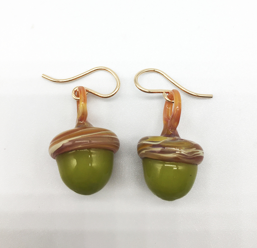 Acorns in Spring Earrings in Green and Caramel on 9-F wires