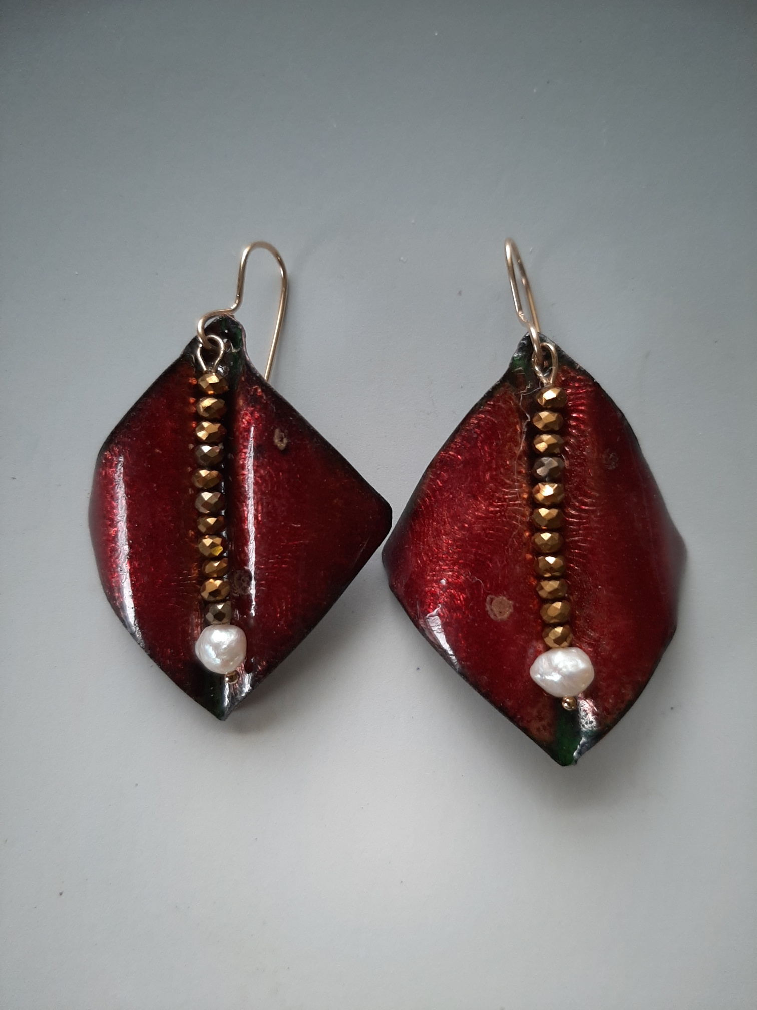 Red Wings with Center Dangle, Pearl Earrings