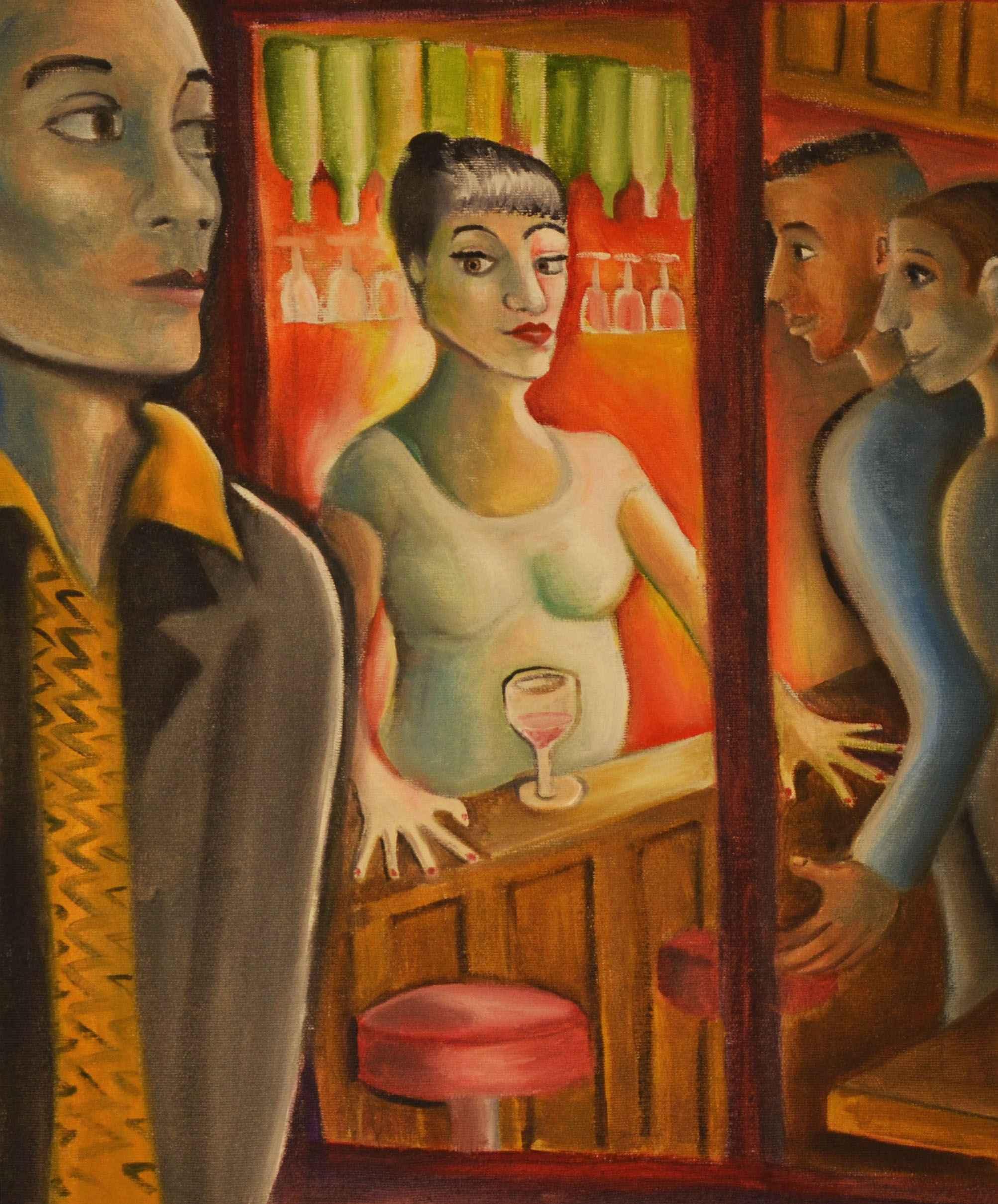 Bar lady on Rue du Fa... by Ms. Rebecca Vincenzi - Masterpiece Online