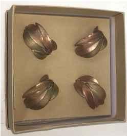 Ash Leaf Napkin Rings, Gold