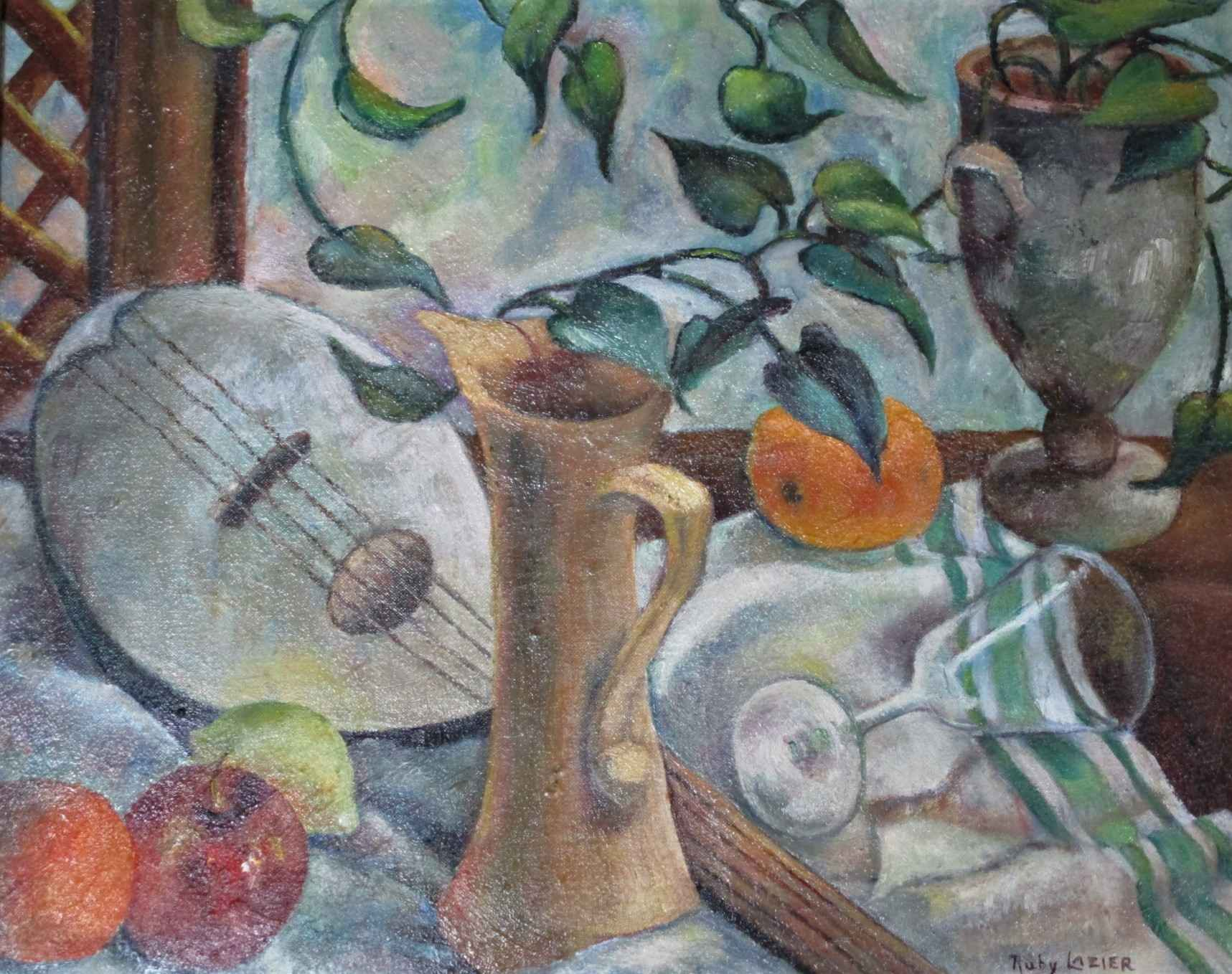 Still life with lute by  Ruby Lazier - Masterpiece Online